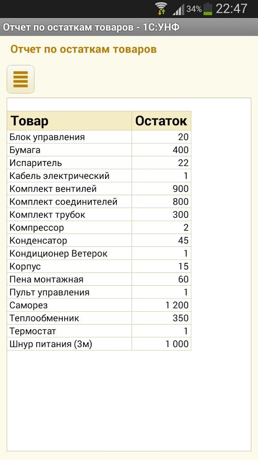Мобильное приложение Отчет